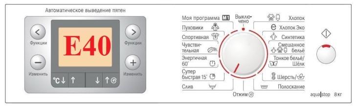 Что значит ошибка Е40 стиральной машины Электролюкс и как ее сбросить: https://www.perm-profi.ru/stati/nemnogo-ob-oshibke-e40-stiralnoy-mashinyi-elektrolyuks/